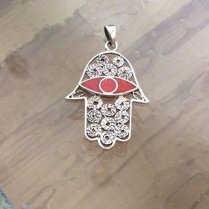 Evil Eye Hamsa pendant 925 Sterling silver w/coral